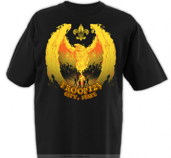 troop t-shirt design with 3 ink colors - #SP4384