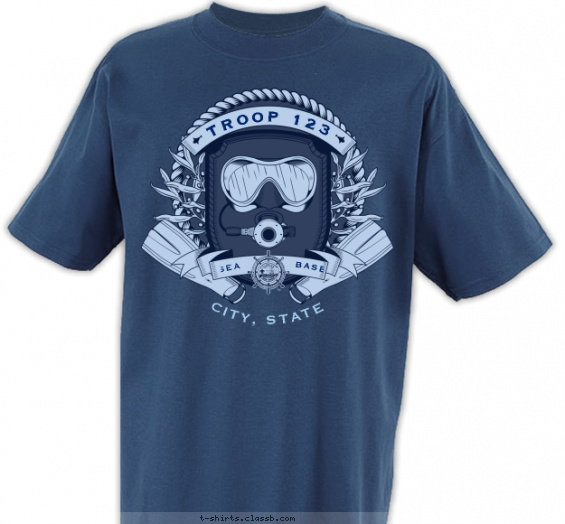 seabase t-shirt design with 2 ink colors - #SP4575