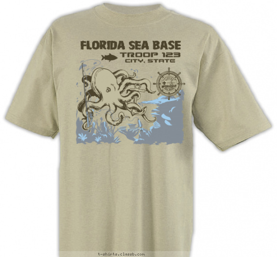 seabase t-shirt design with 3 ink colors - #SP4999