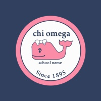 SP5790 Circle Chi Omega Whale Banner